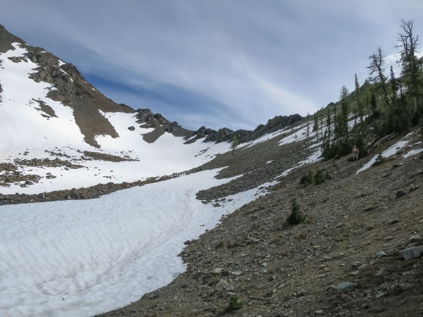 A little remaining snow on the trail down into Lake Ann.
